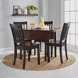 Black Walnut Dining Table and Chairs Set, 5-Piece