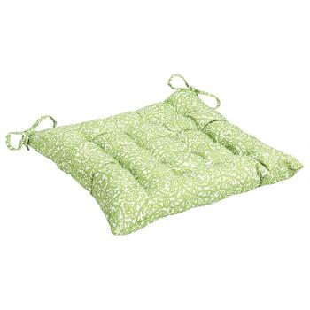 Vera® Green Scroll Indoor/Outdoor Tufted Square Seat Pad