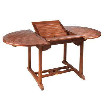 Torino Teak Wood Patio Table with Extension view 2
