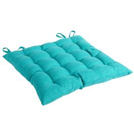 Solid Turquoise Indoor/Outdoor Tufted Square Seat Pad