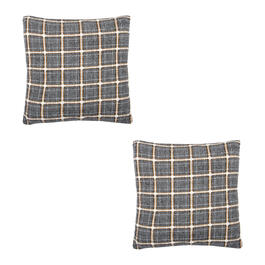 Plaid Feather-Fill Square Throw Pillows, Set of 2 view 1