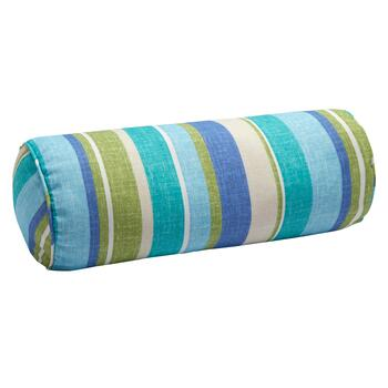 Green/Blue Striped Indoor/Outdoor Lumbar Roll Pillow