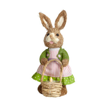 "11"" Pink Dress Sisal Bunny Flameless Tealight Candle Holder view 1"
