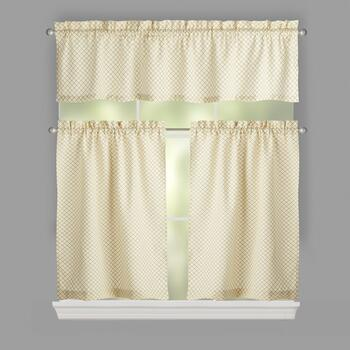 Traditions by Waverly® Tan Crisscross Window Tier & Valance Set