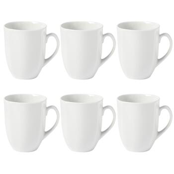 White Ceramic Mugs Set, 6-Piece