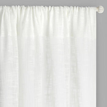"96"" White Faux Linen Rod Pocket Window Curtains, Set of 2 view 1"