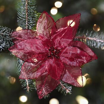 Poinsettia Clip-On Ornaments, Set of 6 view 2