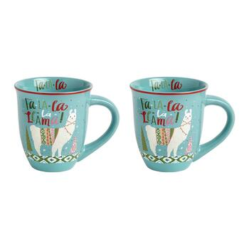"16-oz. ""Fa La La La Llama"" Mugs, Set of 2"