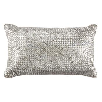 Silver Basketweave Oblong Throw Pillow