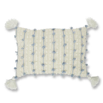 "Petal and Stone™ 14"" x 20"" Knotted Blue/White Throw Pillow view 1"
