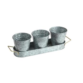3-Bucket Metal Planter Tray