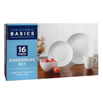 Bistro Basics Porcelain White Coupe Dinnerware Set, 16-Piece view 2