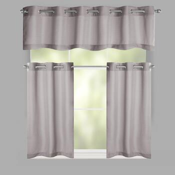 Solid Grommet Window Tier & Valance Set