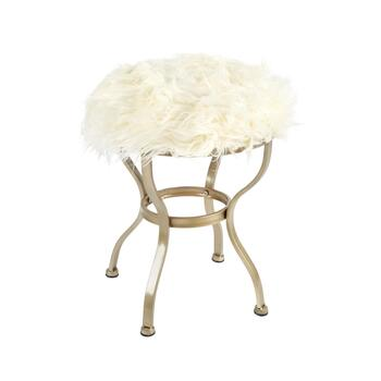 "64"" Fur-Topped Round Metal Stool"