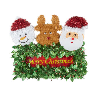 "21"" ""Merry Christmas"" Tinsel Santa Trio Wall Decor view 1"