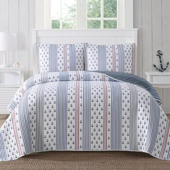 Nautical Rope and Anchors Quilt Set