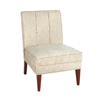 Silver Tufted Slipper Chair view 1