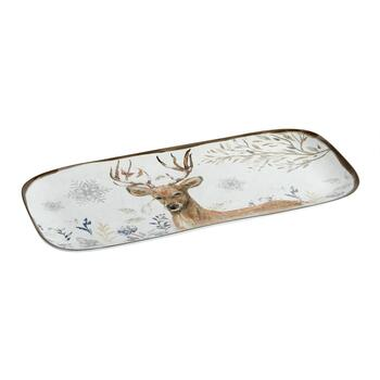 "15"" Winter Woodland Deer Melamine Tray"