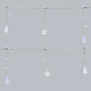 8' LED Snowflake Garland Indoor/Outdoor Icicle String Lights