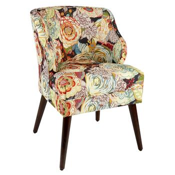 Mazy Floral Mid-Century Accent Chair