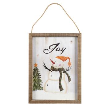 "16"" ""Joy"" Snowman Wood Frame Wall Hanger"