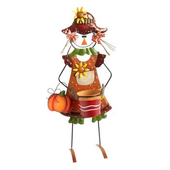 "26"" Metal Girl Scarecrow with Mini Planter Pot"