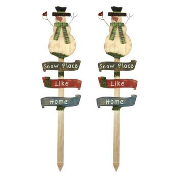 "40"" ""Snow Place Like Home"" Snowman Wooden Yard Stakes, Set of 2"