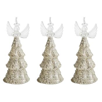Angel Holding Star Topped Tree Ornaments, Set of 3