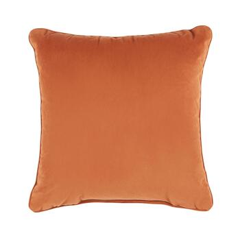 Orange Flower Embellished Square Throw Pillow view 2