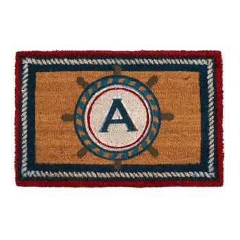 "18""x28"" Ship's Wheel Monogram Coir Door Mat"