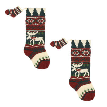 Knitted Moose Christmas Stockings, Set of 2