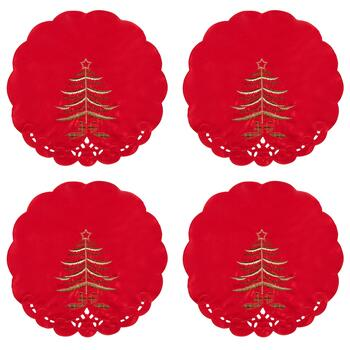 Red Tree Cutwork Placemats, Set of 4