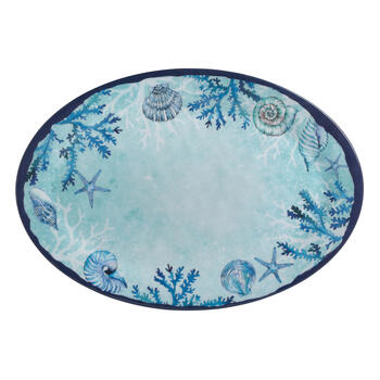 Blue Starfish and Shells Oval Melamine Platters, Set of 2 view 2