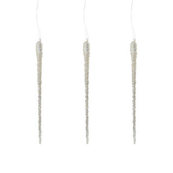 Glitter Glass Icicle Ornaments, Set of 3 view 1