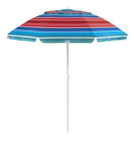 7' Striped Crank/Tilt Beach Umbrella