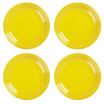 Bistro Basics Solid Yellow Dinner Plates, Set of 4