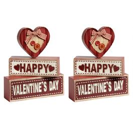 """Happy Valentine's Day"" Wood Block Sitters, Set of 2"