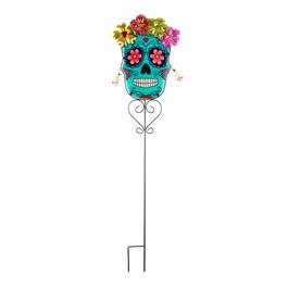 "39"" Day of the Dead Sugar Skull Metal/Glass Yard Stake"