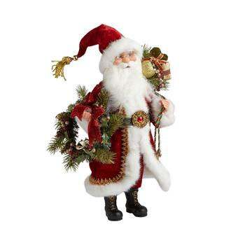 "16"" Red Coat Santa with Wreath Figurine"