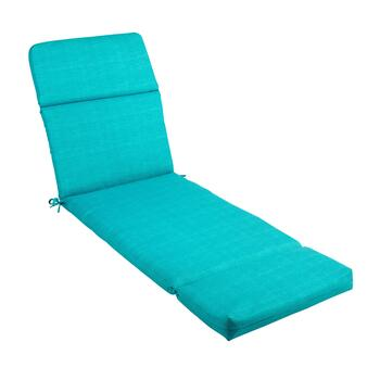 Solid Turquoise Indoor/Outdoor Hinged Chaise Chair Pad