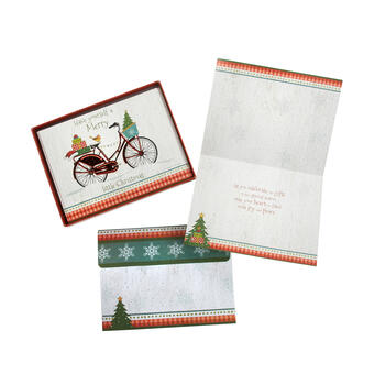 "12-Count ""Merry Little Christmas"" Embossed Bike Greeting Cards, Set of 2 view 1"
