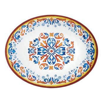 Melamine Christmas Platters.Flower Crest Oval Melamine Serving Platter