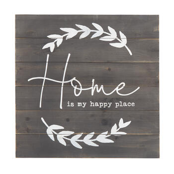 "24"" ""Home is My Happy Place"" Square Wood Box Wall Decor view 1"