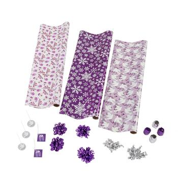 Purple Snowflakes and Doves Executive Wrapping Paper Kit