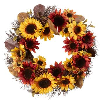"22"" Yellow/Burgundy Sunflowers Artificial Wreath"