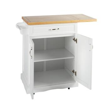 "36"" 1-Drawer/2-Door Rolling Kitchen Island with Folding Shelf view 2"