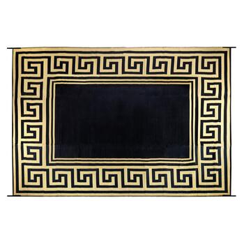 9'x12' Black/Tan Greek Key Reversible All-Weather Patio Mat