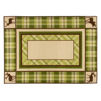 5'x7' Plaid Moose Hand-Hooked Area Rug