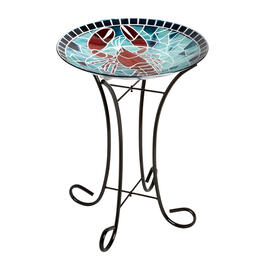"17"" Blue/Red Lobster Mosaic Bird Bath view 1"