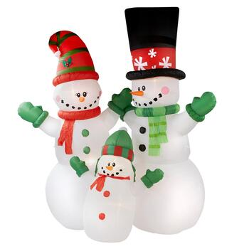 12' Airblown® Inflatable Lighted Snowman Family Yard Display